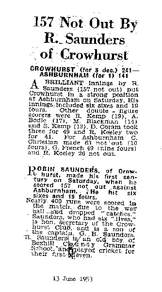 Newspaper cutting detailing the club record breaking score