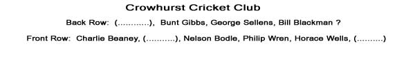 Team Names known are - Bunt Gibbs, George Sellens, Bill Blackman ?, Charlie Beaney, Nelson Bodle, Philip Wren, Horace Wells.