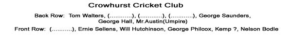 Team Names that are known are - Tom Walters, George Saunders, George Hall, Mr Austin (Umpire), Ernie Sellens, Will Hutchinson, George Philcox, Kemp ?, Nelson Bodle